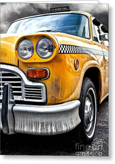 Cabs Greeting Cards - Vintage NYC Taxi Greeting Card by John Farnan