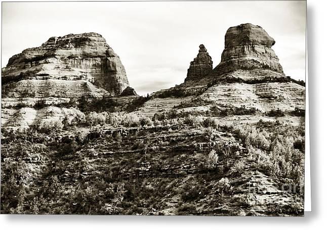 Vintage Oak Creek Canyon Greeting Card by John Rizzuto