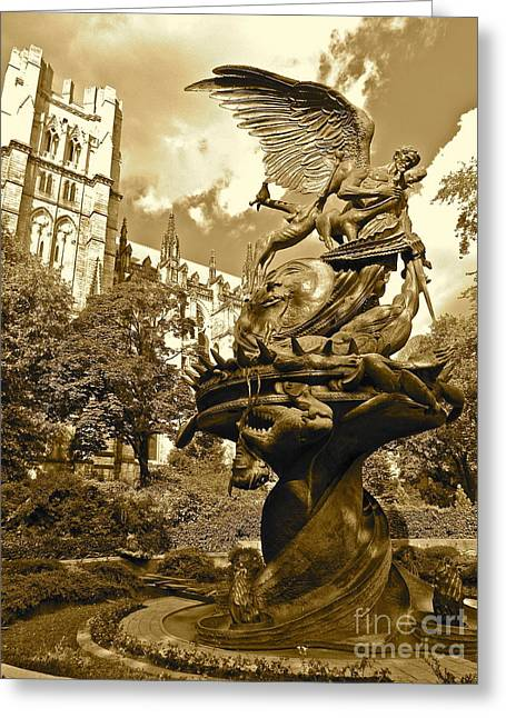 Morningside Heights Greeting Cards - Vintage of St. John the Divine Greeting Card by Maritza Melendez