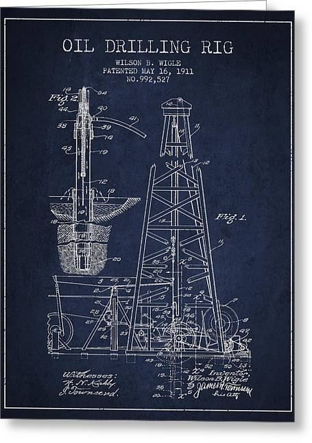 Industry Greeting Cards - Vintage Oil drilling rig Patent from 1911 Greeting Card by Aged Pixel