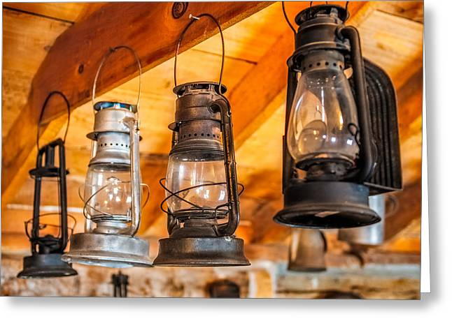 Industrial Background Digital Art Greeting Cards - Vintage Oil Lanterns Greeting Card by Paul Freidlund