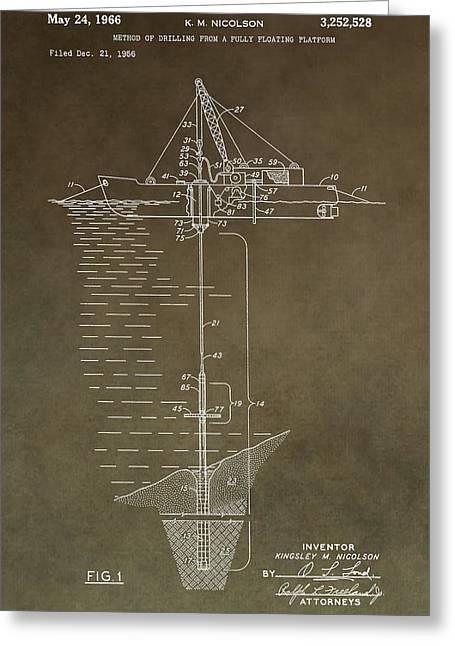 Sea Platform Greeting Cards - Vintage Oil Platform Patent Greeting Card by Dan Sproul