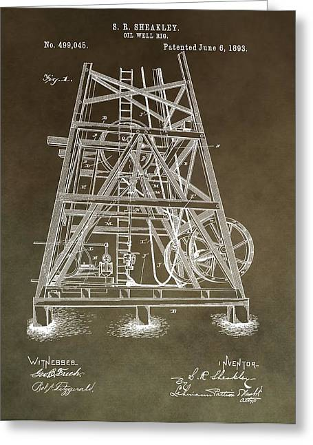 Crisis Mixed Media Greeting Cards - Vintage Oil Well Rig Patent Greeting Card by Dan Sproul