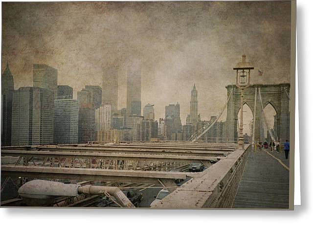 Vintage Old New York City Skyline With Twin Towers And Brooklyn Bridge Greeting Card by Joann Vitali
