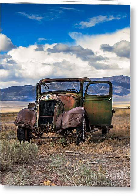 Old West Photography Greeting Cards - Vintage Old Truck Greeting Card by Robert Bales