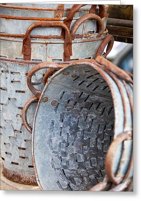 Rust Bucket Greeting Cards - Vintage Olive Buckets Greeting Card by Art Block Collections
