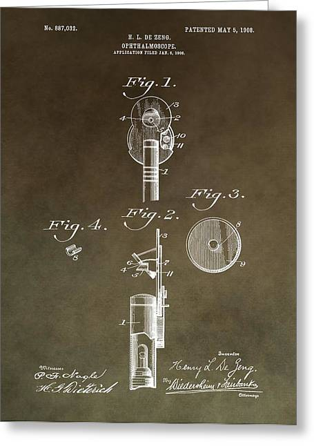 Vision Office Greeting Cards - Vintage Ophthalmoscope Patent Greeting Card by Dan Sproul