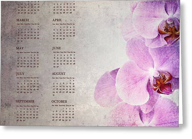 Weekly Greeting Cards - Vintage orchid calendar for 2014 Greeting Card by Jane Rix