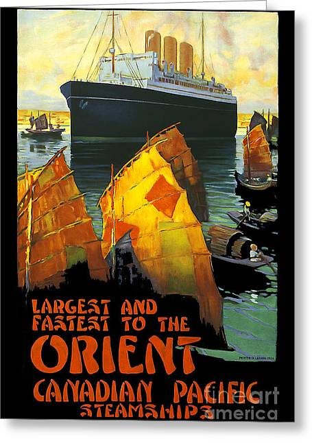 Canadian Drawings Greeting Cards - Vintage Orient Travel Poster Greeting Card by Jon Neidert