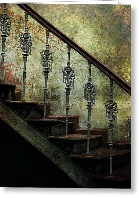 Shining Down Greeting Cards - Vintage ornamented stairs and dirty wall Greeting Card by Jaroslaw Blaminsky
