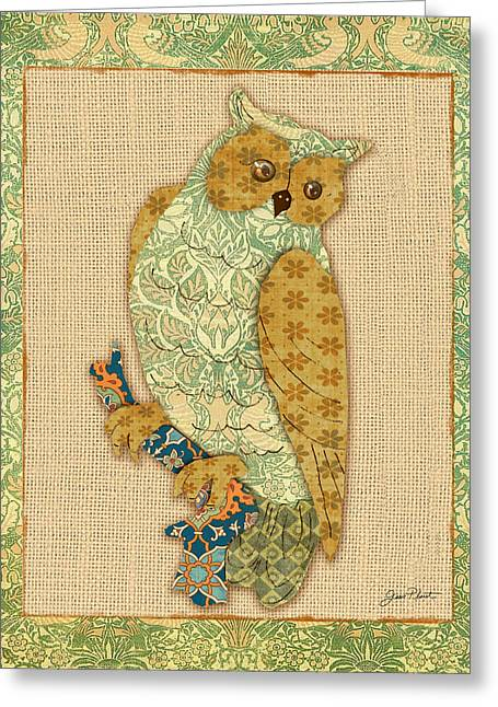 Vine Leaves Greeting Cards - Vintage Owl-A Greeting Card by Jean Plout