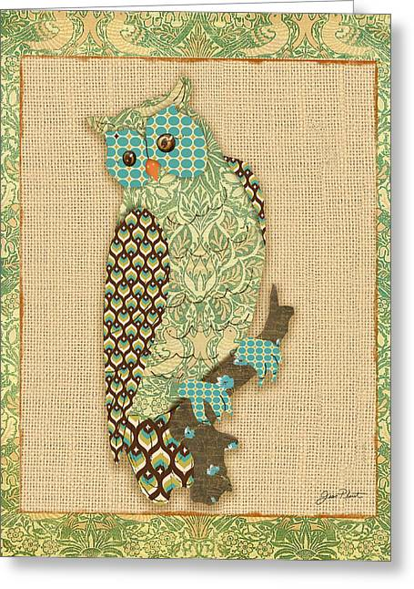 Vine Leaves Greeting Cards - Vintage Owl-B Greeting Card by Jean Plout