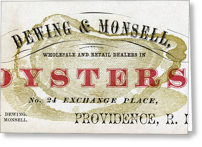 Raw Oyster Greeting Cards - Vintage Oyster Dealers Trade Card Greeting Card by Historic Image