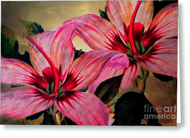 Exture Greeting Cards - Vintage Painted Pink Lily Greeting Card by Judy Palkimas