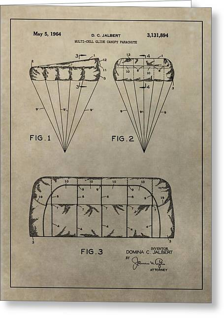 Ejected Greeting Cards - Vintage Parachute Patent Greeting Card by Dan Sproul