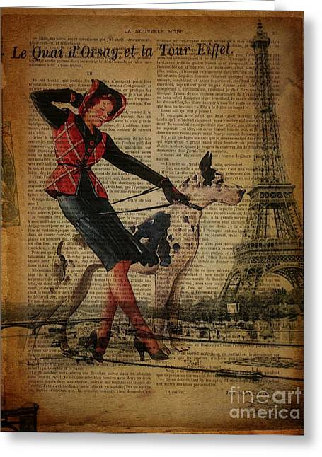 Europe Mixed Media Greeting Cards - Vintage Paris Dog Walker Great Dane Paris Eiffel Tower Art Greeting Card by Cranberry Sky