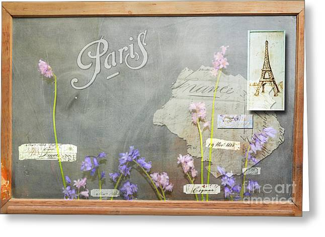 Paris Mixed Media Greeting Cards - Vintage Paris Flower Shop Blackboard art Greeting Card by ArtyZen Studios - ArtyZen Home