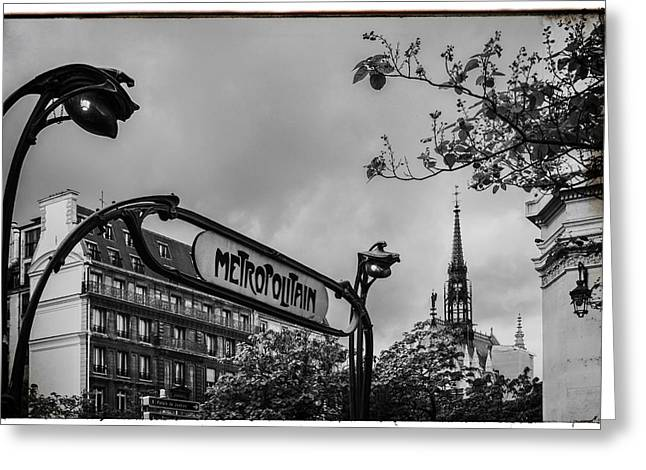Station Wagon Greeting Cards - Vintage Paris Metro Greeting Card by Nomad Art And  Design