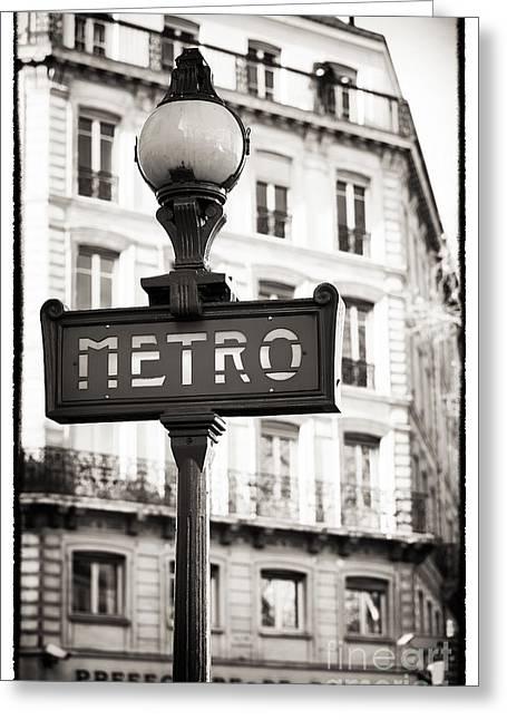 Police Station Greeting Cards - Vintage Paris Metro Greeting Card by John Rizzuto
