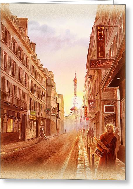 Vintage House Greeting Cards - Vintage Paris Street Eiffel Tower View Greeting Card by Irina Sztukowski