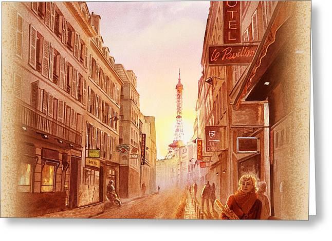 Vintage Paris Street Eiffel Tower View Greeting Card by Irina Sztukowski