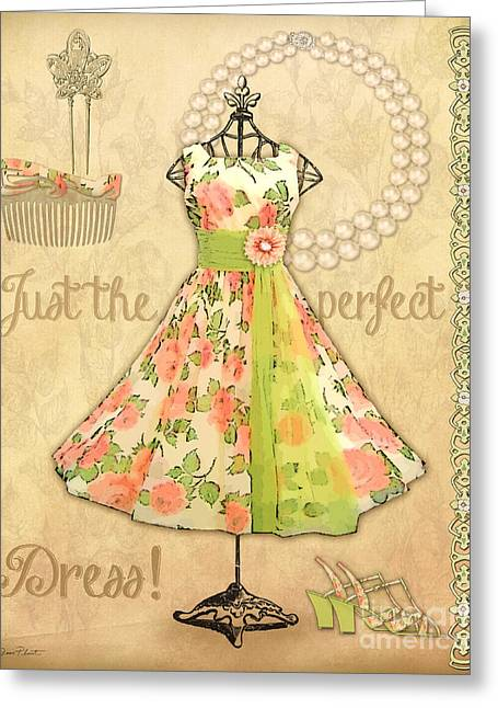 Pearl Bracelet Greeting Cards - Vintage Party Dress-A Greeting Card by Jean Plout