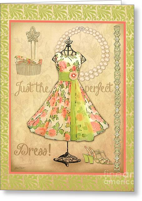 Pearl Bracelet Greeting Cards - Vintage Party Dress-A2 Greeting Card by Jean Plout
