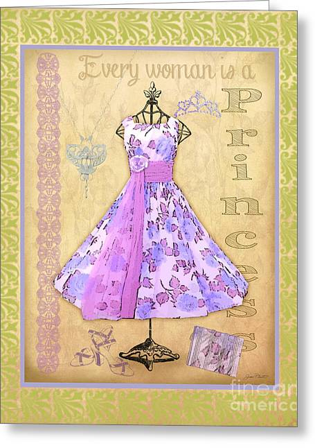 Pearl Bracelet Greeting Cards - Vintage Party Dress-B2 Greeting Card by Jean Plout