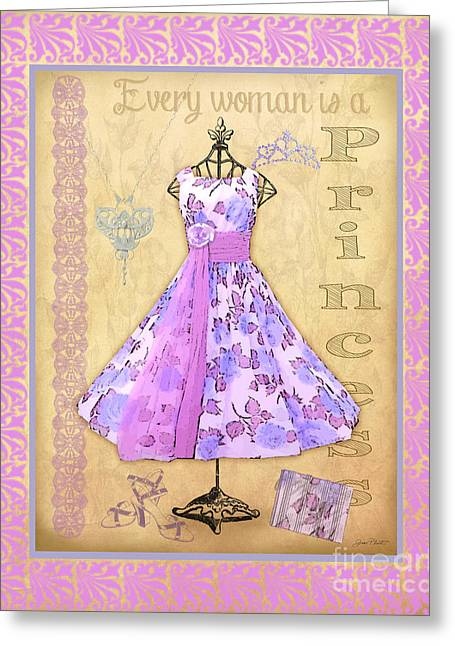 Pearl Bracelet Greeting Cards - Vintage Party Dress-B3 Greeting Card by Jean Plout