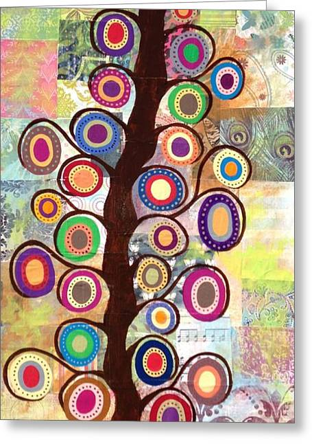 Patch Quilts Greeting Cards - Vintage Patch Quilt tree of Life Greeting Card by Kerri Ambrosino GALLERY