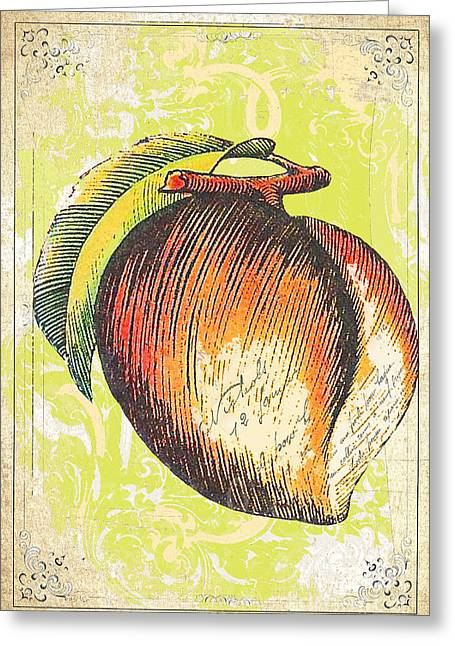 Wall Decor Licensing Greeting Cards - Vintage Peach Print Greeting Card by Anahi DeCanio