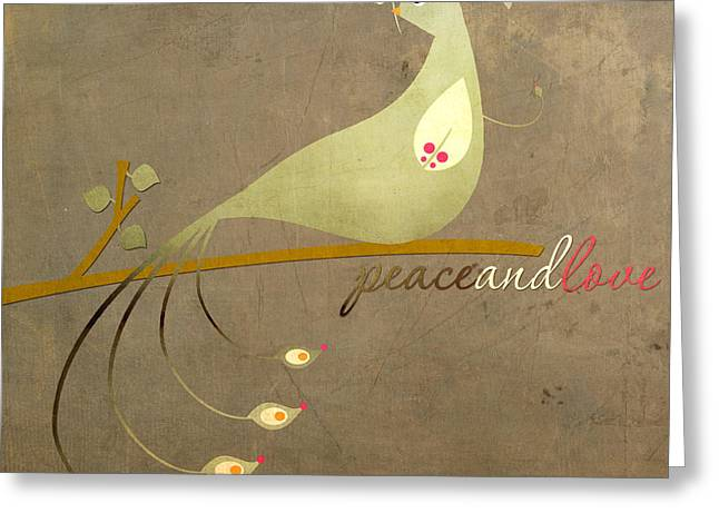 """peace And Love"" Greeting Cards - Vintage Peacock Peace and Love Greeting Card by Let Your Dim Light Shine"