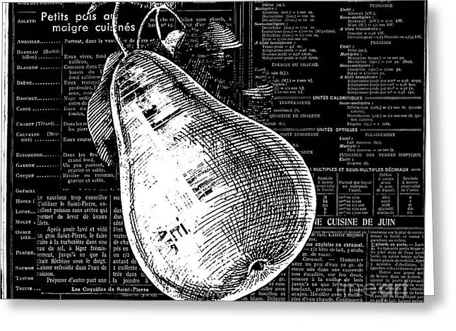 Kitchen Licensing Mixed Media Greeting Cards - Vintage Pear on Black and White French Recipe Text Greeting Card by Anahi DeCanio