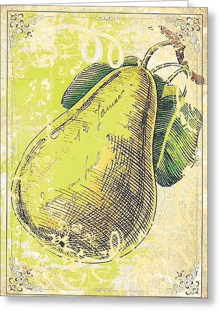 French Pears Greeting Cards - Classic Kitchen Art - Vintage Pear in Cream and Green  Greeting Card by Anahi DeCanio - ArtyZen Studios