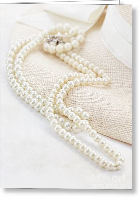 White Pearl Greeting Cards - Vintage Pearls Greeting Card by Stephanie Frey