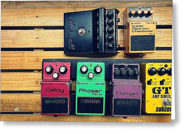 Phaser Greeting Cards - Vintage Pedals Greeting Card by Andy Omar Elorde