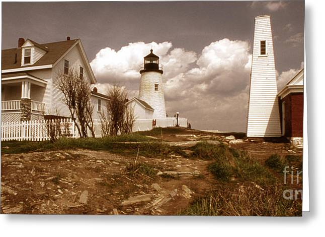 Maine Lighthouses Greeting Cards - Vintage Pemaquid Point Lighthose Greeting Card by Skip Willits