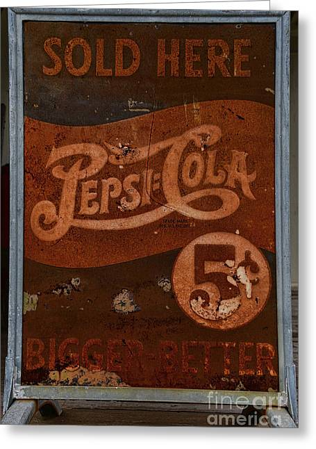 5 Cents Greeting Cards - Vintage Pepsi Sign Greeting Card by Paul Ward