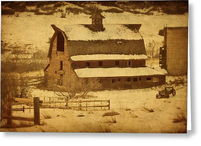 Winter Road Scenes Digital Greeting Cards - Vintage Perry Park Barn Greeting Card by Priscilla Burgers