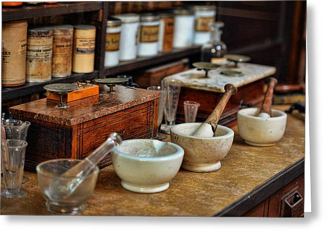 Medication Digital Greeting Cards - Vintage Pharmacy Items Greeting Card by Maria Angelica Maira