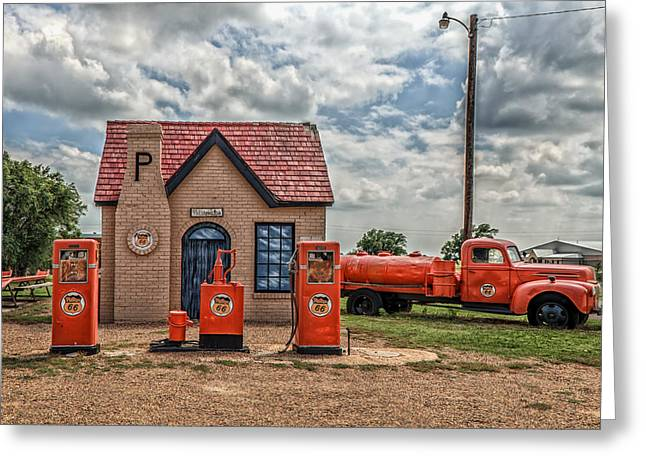 Mclean Greeting Cards - Vintage Phillips 66 Gas Station Greeting Card by Mountain Dreams