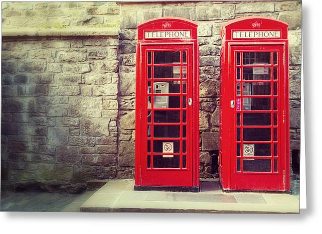 Vintage Phone Boxes Greeting Card by Jane Rix
