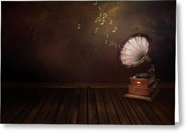 Hand Drawn Greeting Cards - Vintage phonograph on Art abstract background Greeting Card by Mythja  Photography