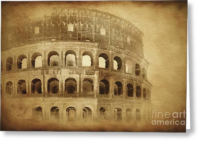 1st Century Greeting Cards - Vintage Photo Of Coliseum In Rome Greeting Card by Evgeny Kuklev