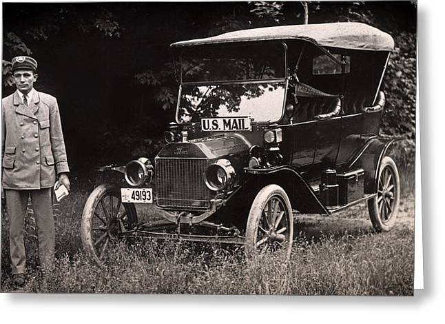 Car Carrier Greeting Cards - Vintage Photo of Rural Mail Carrier - 1914 Greeting Card by Mountain Dreams