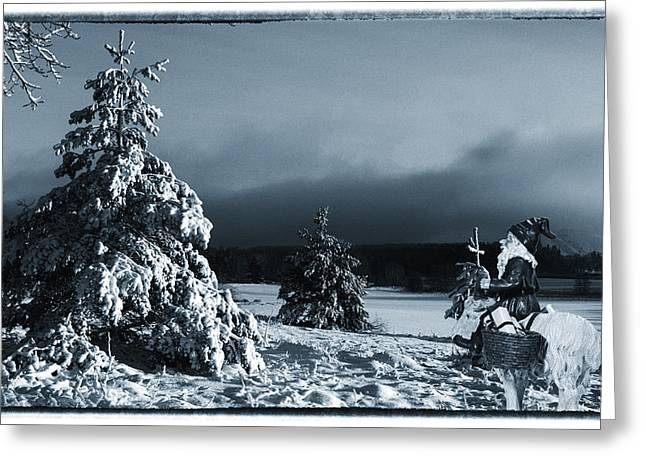 Christmas Greeting Photographs Greeting Cards - vintage photo of Santa Claus and winter landscape Greeting Card by Christian Lagereek