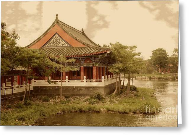 Old Tree Photographs Greeting Cards - Vintage Photo of Temple by the Lake Greeting Card by Yali Shi