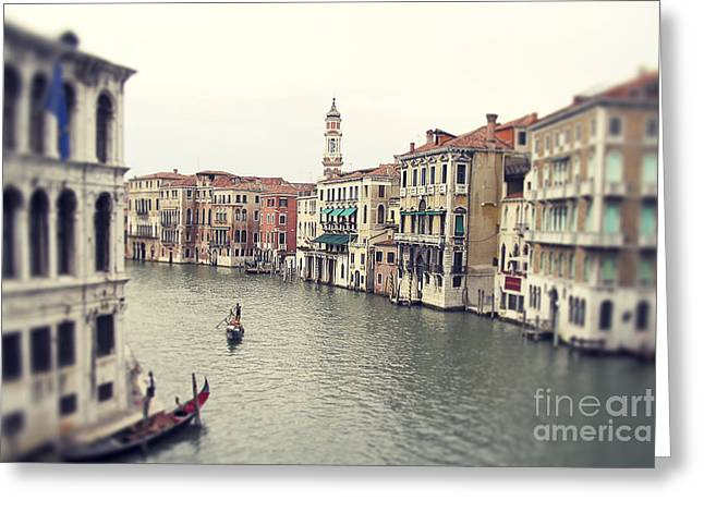 Rowing Boat Greeting Cards - Vintage photo of Venice Grand Canal Greeting Card by Ivy Ho