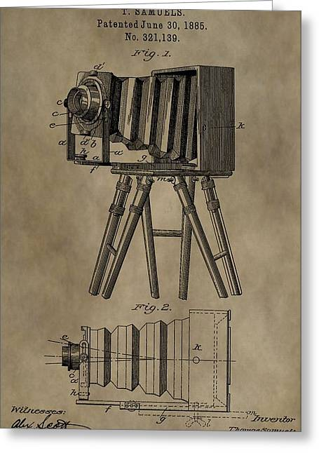 First-class Mixed Media Greeting Cards - Vintage Photographic Camera Patent Greeting Card by Dan Sproul
