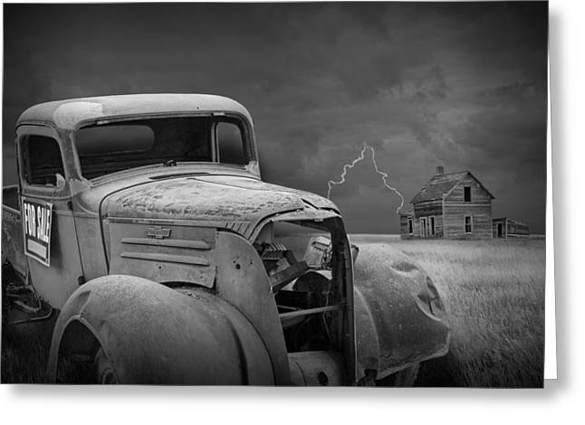 Lightning Photographs Greeting Cards - Vintage Pickup and farmhouse on the Prairie with Thunderstorm and Lightning Greeting Card by Randall Nyhof